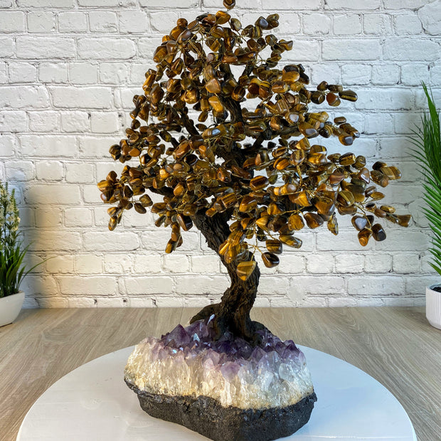 "Large Handmade Gemstone Tree, Tiger's Eye, 25"" tall, 144 branches and 720 gemstones (5407-0022)"
