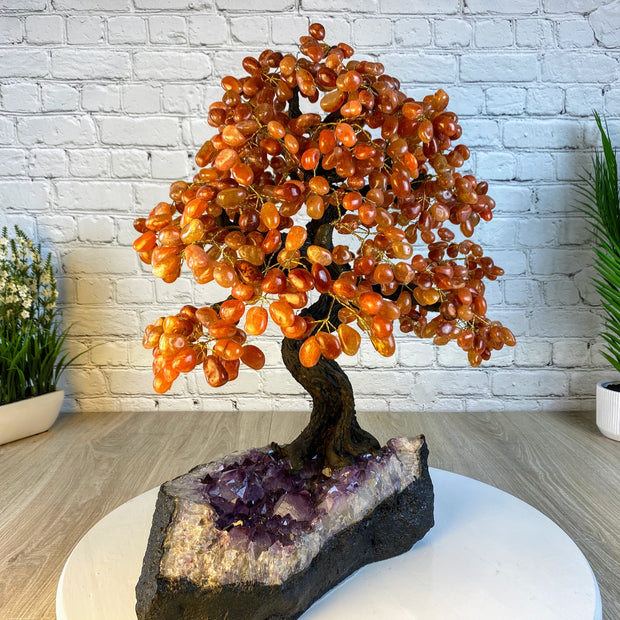 "Large Handmade Gemstone Tree, Carnelian, 25"" tall, 144 branches and 720 gemstones (5407-0010)"