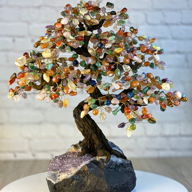 "Large Handmade Gemstone Tree, Mixed Gems, 25"" tall, 144 branches and 720 gemstones (5407-0016)"