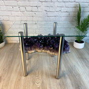 "Super Quality Amethyst Coffee Table, 60 lbs & 18"" tall, chrome base (1385-0016)"