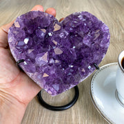 Quality Heart-shaped Amethyst geode, metal stand, 3 lbs (5463-0024)