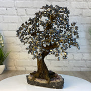"Large Handmade Gemstone Tree w/ Amethyst base, many gem options, 20"" tall, 108 branches and 540 gemstones (5406-0021)"