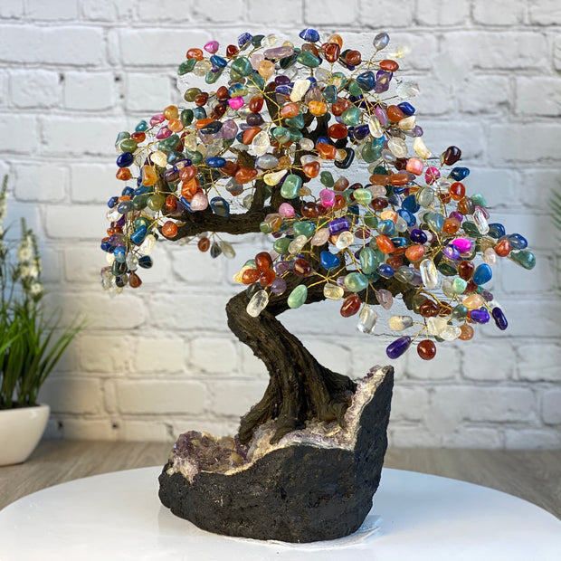 "Handmade Mixed Gems Gemstone Tree w/ Amethyst base, 20"" tall, 540 gemstones (5406-0022)"