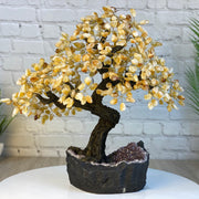 "Handmade Citrine Gemstone Tree w/ Amethyst base, 20"" tall, 540 gemstones (5406-0015)"