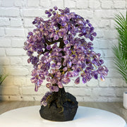 "Handmade Gemstone Tree w/ Amethyst base, many gem options, 14"" tall, 36 branches and 180 gemstones (5404)"