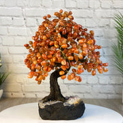 "Handmade Carnelian Gemstone Tree w/ Amethyst base, 20"" tall, 540 gemstones (5406-0014)"