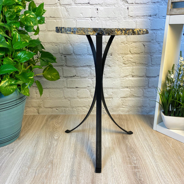 "Natural Brazilian Agate side table, single slice on black metal base, 22"" tall (1305-0029)"