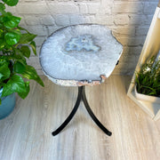 "Natural Brazilian Agate side table, single slice on black metal base, 22"" tall (1305-0038)"