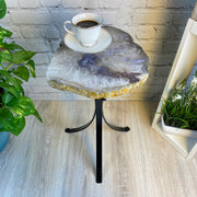 "Natural Brazilian Agate side table, single slice on black metal base, 22"" tall (1305-0041)"