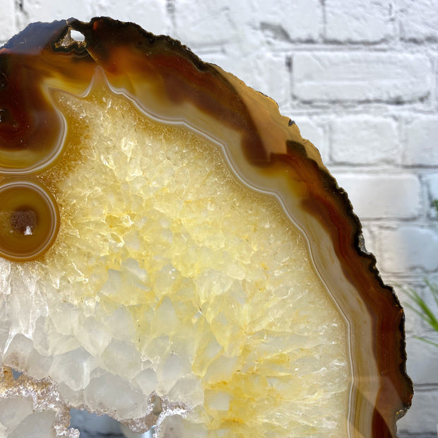 "Natural Brazilian Agate Slice w/ metal stand, 14.6"" Tall and 3 lbs (5055-0028)"