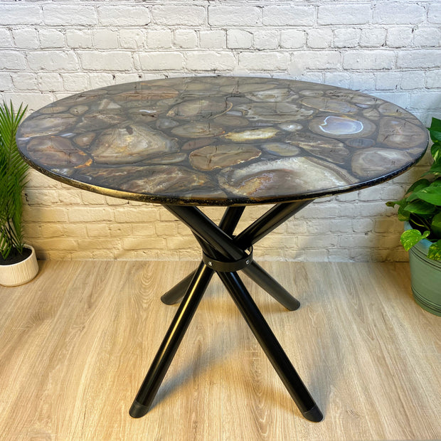 "Handmade All Natural Brazilian Agate round table, 36"" diameter & 29"" tall (1003-0002)"