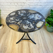 "Handmade Natural Agate Round Table, black base, 28"" diameter & 28"" tall (1001-0004)"