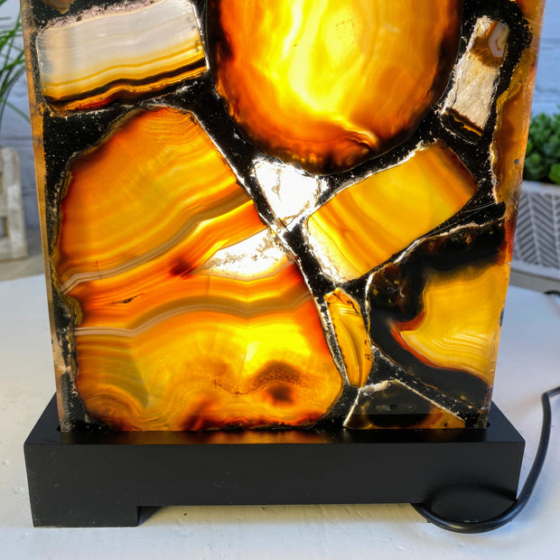 "Handmade Natural Agate Lamp, dimmable LED, 19"" Tall, wooden base (2007-0004)"