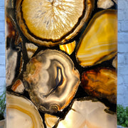 "Handmade Natural Agate Lamp, dimmable LED, 28"" Tall, wooden base (2008-0002)"