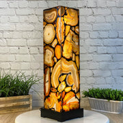 "Handmade Natural Agate Lamp, dimmable LED, 28"" Tall, wooden base (2008-0003)"