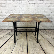 "Handmade Natural Brazilian Agate Table, metal base, 28x20"", 18"" tall"