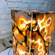 "Handmade Natural Agate LED Lamp 15"" Tall w/ wooden base (2006-0005)"