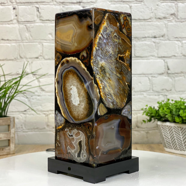 "Handmade Natural Agate LED Lamp 15"" Tall w/ wooden base (2006-0004)"