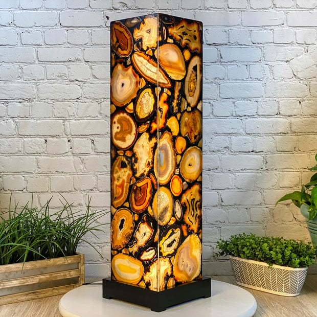 "Handmade Natural Agate LED Floor Lamp, 33"" Tall, w/ wooden base (2009-0002)"