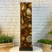 "Handmade Natural Agate LED Floor Lamp, 32"" Tall, w/ wooden base (2009-0003)"