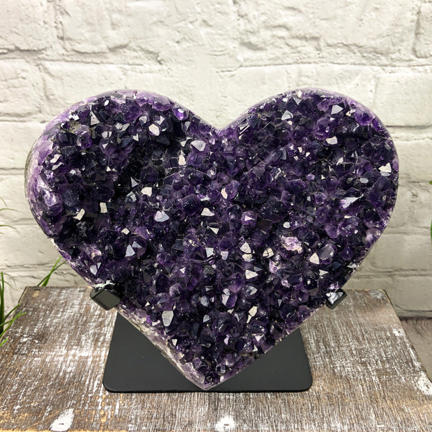 Quality Heart-shaped Amethyst geode on black metal stand, Polished, 9.4 lbs (5463-0003)