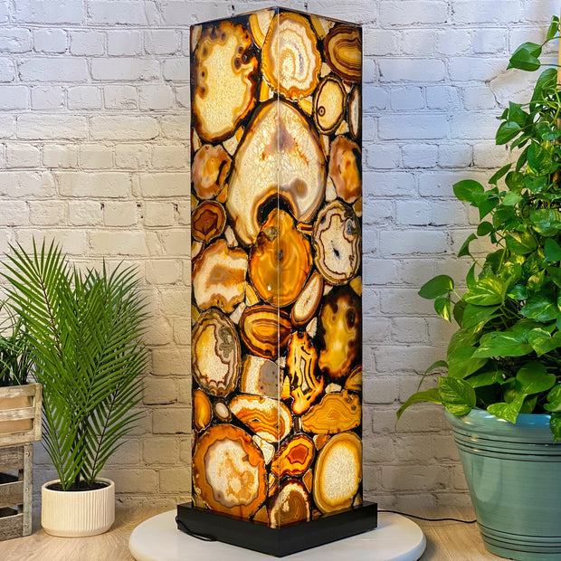 "Handmade Natural Agate Floor Lamp, Dimmable LED, 44"" Tall, w/ wooden base (2010-0002)"