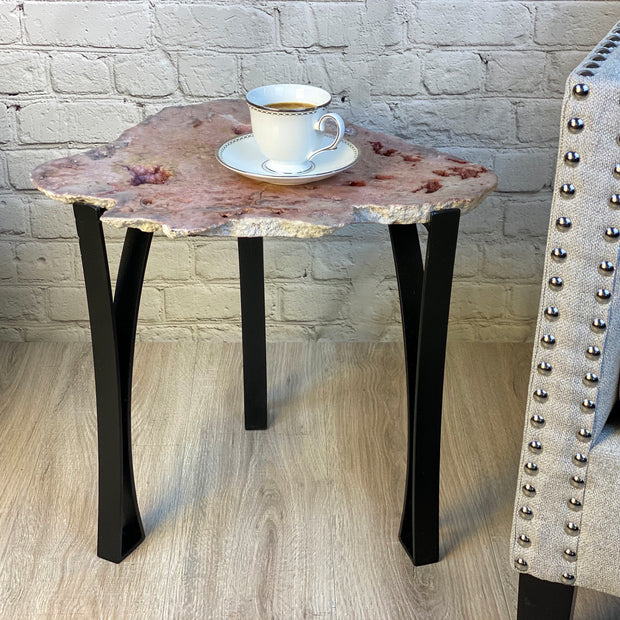 "Natural Pink Amethyst accent table, single slice, 18"" tall, 24.2 lbs (1381-0004)"