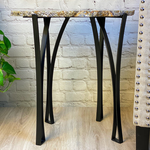 "Large Natural Brazilian Agate side table, metal base, 24"" Tall, 40.2 lbs (1307-0002)"