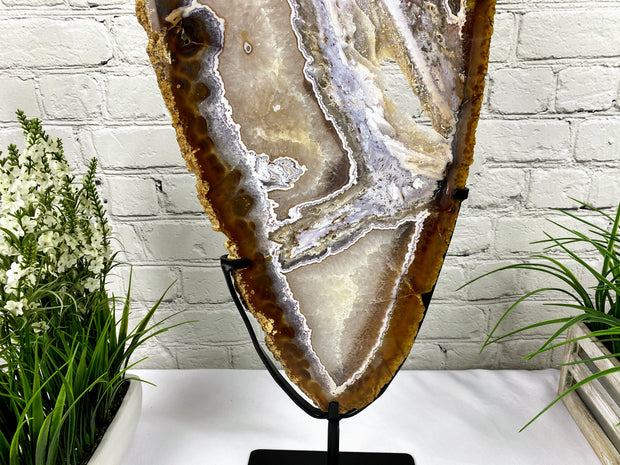"Unique Large Brazilian Agate slice on metal base, 29"" tall (5056-0003A)"