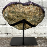 Quality Heart-shaped Amethyst geode on metal stand, Polished, 10.3 lbs (5463-0005)