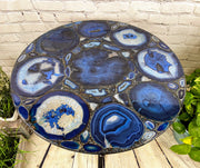 "Handmade Blue Agate Table, round, black base, 28"" diameter, 31"" tall (1001-0003)"