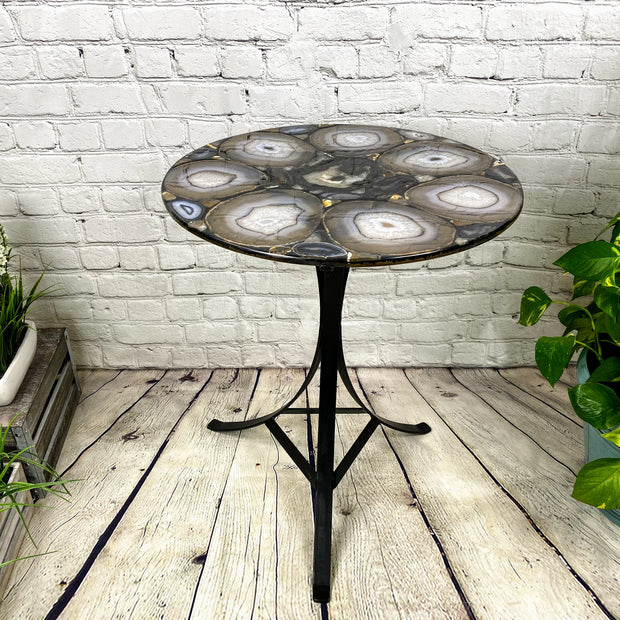 "Handmade Natural Agate Round Table, black metal base, 22"" diameter, 26"" tall (1002-0004)"