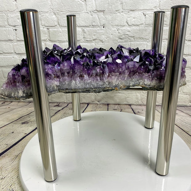 "Super Quality Amethyst Geode Coffee Table, 60 lbs & 18"" tall on a chrome base, no glass top (1385-0016)"