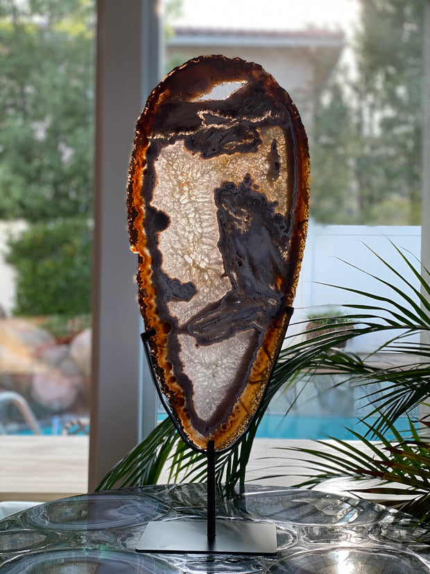 "Unique Extra Large Brazilian Agate slice on metal base, 29"" tall (5056-0003A)"