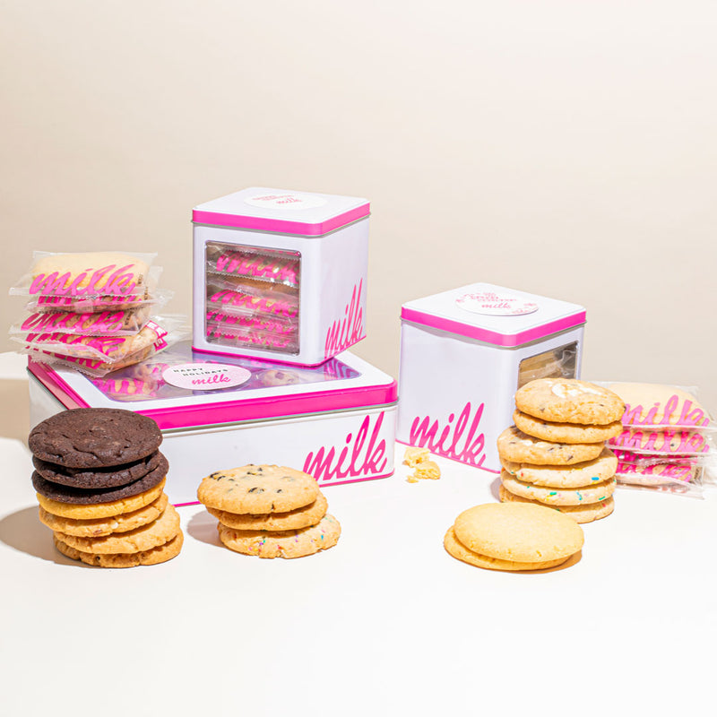 assorted cookie tin with customized hulu sticker