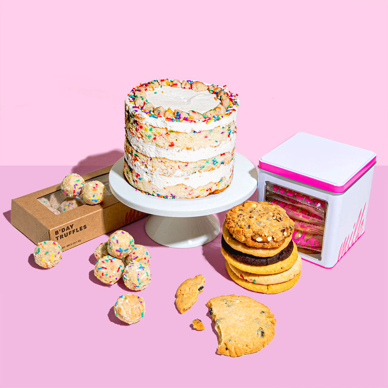 assortment of birthday cake, assorted cookies and b'day truffle dozen box
