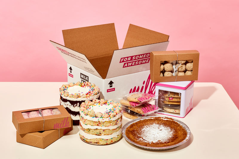 Display of Milk Bar treats with shipping box