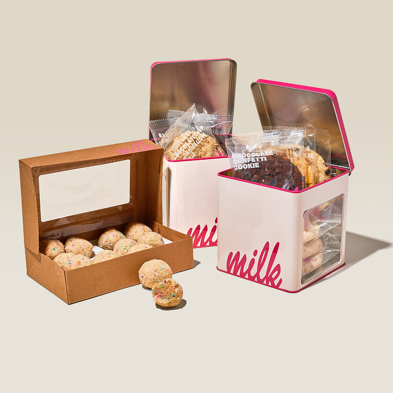 2 Assorted Cookie Tins with Birthday Truffle Dozen Box