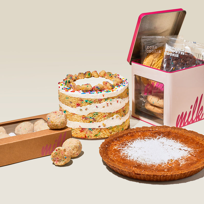"6"" Birthday Cake, Milk Bar Pie, Assorted Cookie Tin and Birthday Truffle Dozen Box"