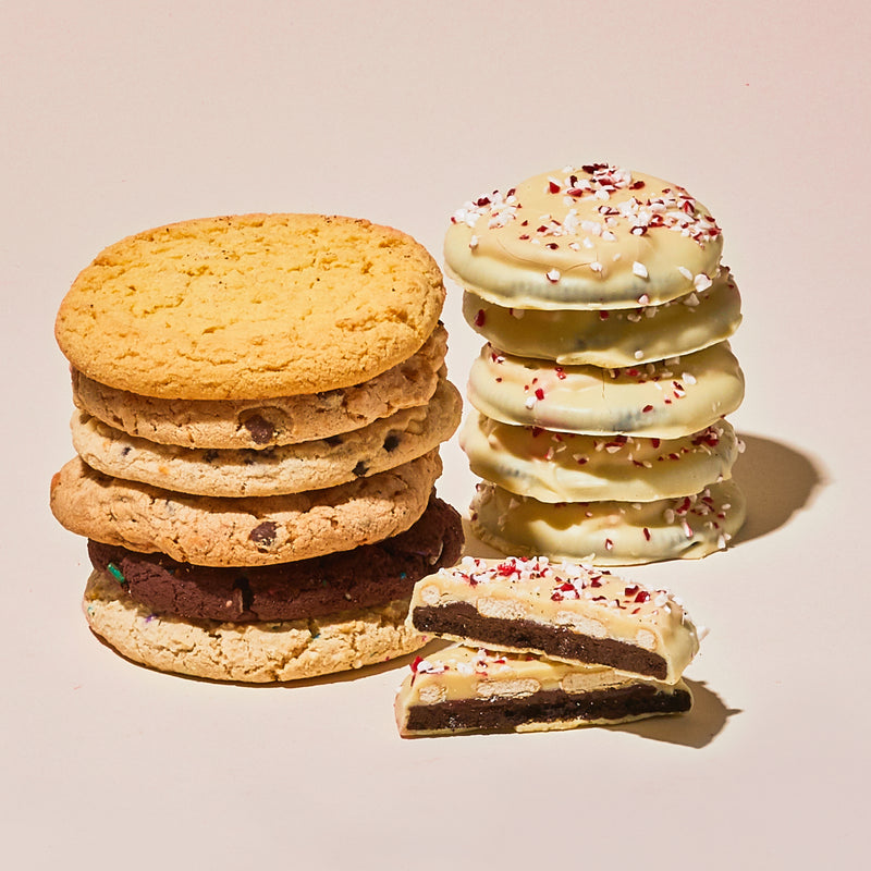 Assorted Cookies and Peppermint Snaps stacked