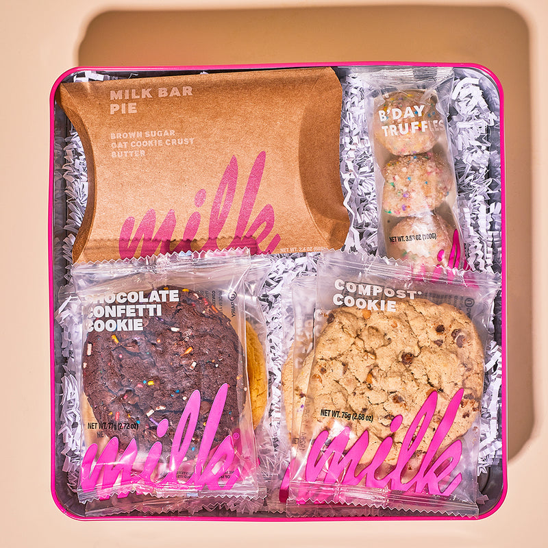 Milk Bar Pie Slice, 3-Pack B'day Truffles and 6 Assorted Cookies in dozen tin
