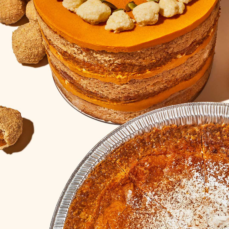 Pumpkin Dulce de Leche Cake, Truffles and Milk Bar Pie Overhead