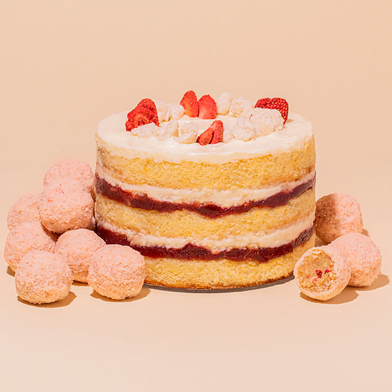 Strawberry Shortcake Cake 6-inch and Strawberry Shortcake Truffles stacked