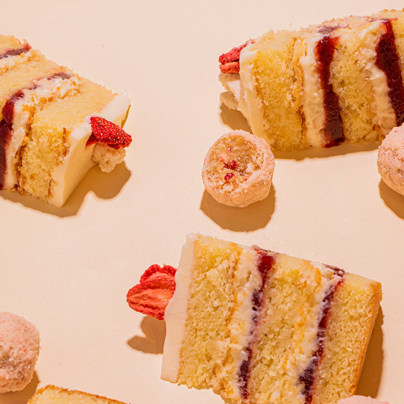 Strawberry Shortcake Cake slices and Strawberry Shortcake Truffle bites