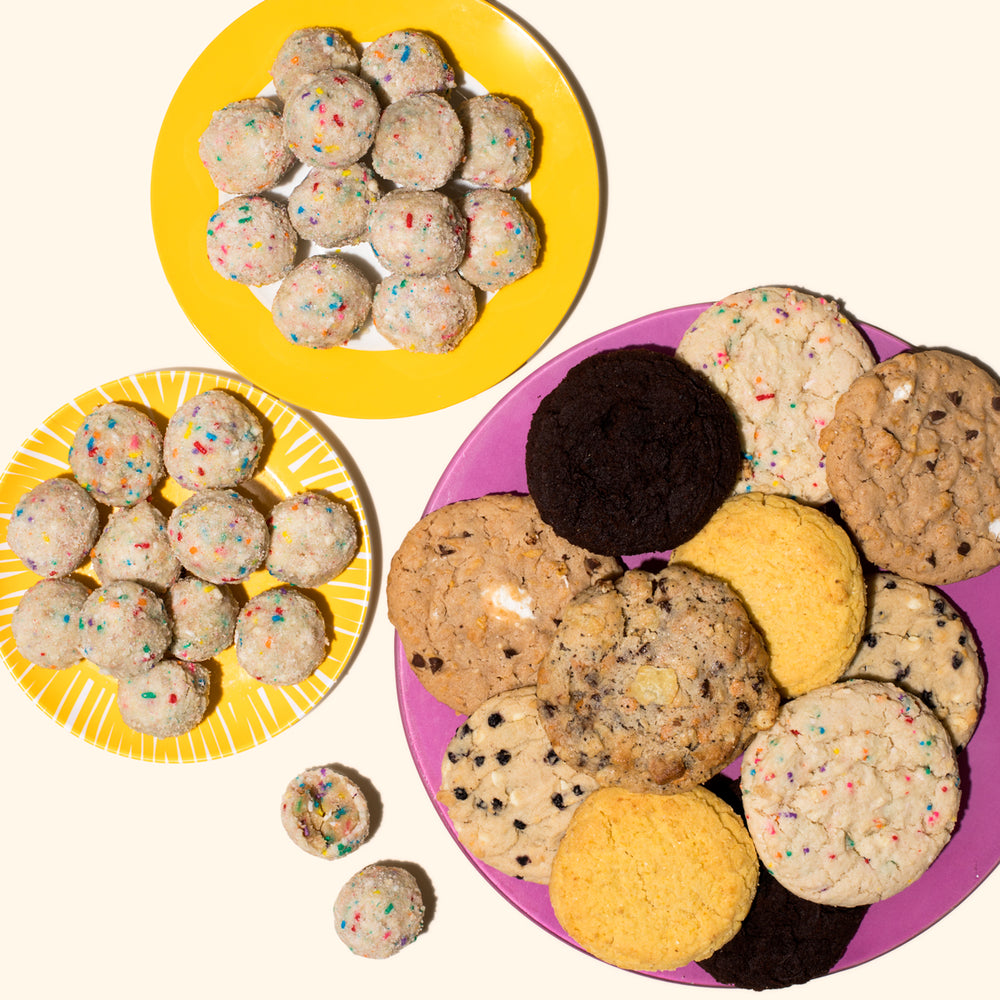 Milk Bar 2 assorted cookie tins and 2 bday truffle box