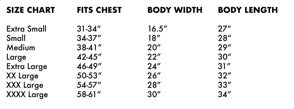 Sizing Chart Bella + Canvas 3001