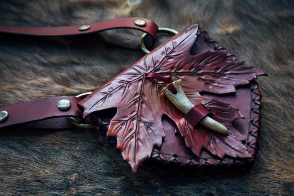 Red and Yellow Ombre Maple Leaf Pouch with Deer Antler Toggle