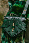 Forest Green Maple Leaf Pouch with deer antler toggle.