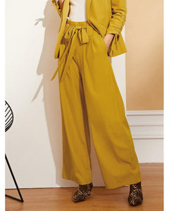 Trinity Waist Belted Pleated Wide Leg Pants