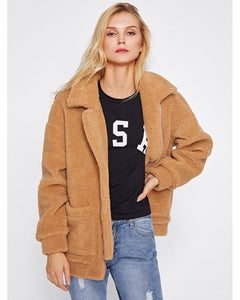Brooklyn Oversized Fleece Jacket in Camel